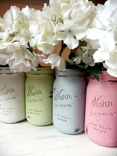 Painted Mason Jars - paint outside or pour paint in and rotate