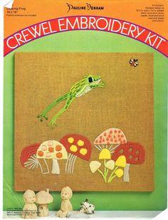 Vintage Crewel Embroidery Kit Leaping Frog Mushrooms RETRO 1970's Denham  #PaulineDenham