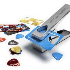 use old credit cards to make new guitar picks using the Pickmaster Plectrum Punch