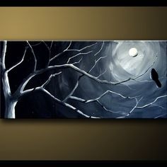 Shoply.com -Admiring the View  Bird on Branch in the Moon light Modern ART by D.Rob   20 x 48 x 1.5. Only $249.99