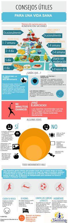 Infografía con consejos para vivir una vida saludable