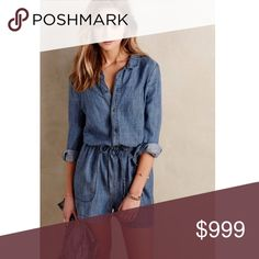 Coming soon! Level 99 chambray romper Size medium new with tag. Sold at anthro Anthropologie Pants Jumpsuits & Rompers
