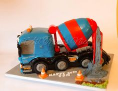 Cement truck cake, All edible Truck Birthday Cakes, Birthday Cake For Him, Truck Cakes, Twin Birthday, 40th Birthday, Boy Cakes, Cakes For Boys, Construction Cakes, Planes Cake
