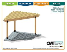 Detailed instruction on which OZCO products to use and how to properly install them to construct a Corner Pergola – Free Standing. Or use this guide and alter it to fit your specific project! Corner Pergola, Small Pergola, Pergola Attached To House, Pergola Swing, Deck With Pergola, Outdoor Pergola, Pergola Lighting, Backyard Pergola, Pergola Shade