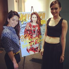 Senior Editor Kaitlin Cubria with Lily Collins at the signing of her Seventeen magazine cover.
