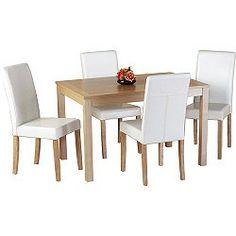 Home Essence Oakmere 5 Piece Dining Set - Cream Dining Table Set Designs, Small Dining Table Set, Buy Dining Table, Oak Dining Sets, 5 Piece Dining Set, Dining Room Design, Table And Chairs, Dining Chairs, Beige Dining Room