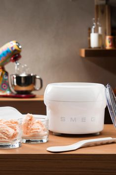 Friday night in? Treat yourself to some delightful home-made ice cream using our nifty ice cream maker. It's simple and quick taking less than half an hour! Step one – Place the ice cream accessory in the freezer for 18 hours. Step two – Mix the ingredients separately according to the instructions in the recipe book. Step three – Let the mixer do its work! Smeg Stand Mixer, Mixer Accessories, Making Homemade Ice Cream, 18 Hours, Luxury Kitchen Design, Metal Bowl, Ice Cream Maker, Small Appliances, Sorbet