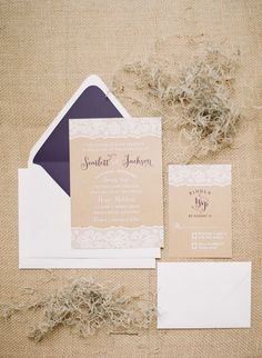 kraft, lace, and purple invitations // photo by Catherine Guidry // http://ruffledblog.com/southern-charm-wedding-ideas