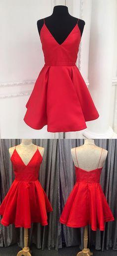 Red A Line Simple Homecoming Dress, Cheap Homecoming Dress, Short Graduation Dress, from modern sky Short Graduation Dresses, Simple Homecoming Dresses, Hoco Dresses, Dresses For Teens, Trendy Dresses, Modest Dresses, Cheap Dresses, Elegant Dresses, Casual Dresses