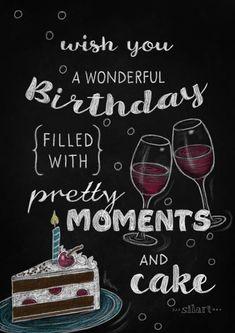 Wonderful Birthday, Birthday Chalkboard, Lettering Card, Quote Art, Word Art, Statements, Zitate, Sprüche, Karten
