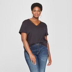 5c9e5c42aa5d85 Women's Plus Size Floral Ruched Back Short Sleeve T-Shirt- Ava & Viv Black