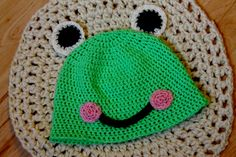 Crochet Frog Beanie. I made this for my daughter Klara. The pattern from www.repeatcrafterme.com