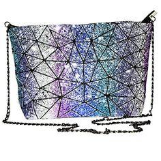 Magibag Glitter Lattice Geometric Plaid Handbag with Chain Strap Womens Shoulder & Crossbody Diamond Bag Purse