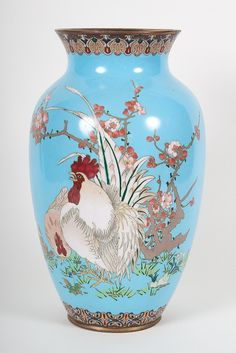 Japanese cloisonne enamel vase - early 20th century; with rooster and cherry blossom decoration, 12 in. H.