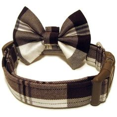 Brown Plaid Dog Collar & Bowtie - I want this for Gordo!