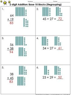 2-digit Addition: Use Base-10 Blocks (Regrouping) Practice Sheets - King Virtue's Classroom  These practice sheets are great for practice and assessing students' ability to find the sum using base-10 blocks. Each problem features two whole numbers whose sum is 99 or less (with regrouping). You can use one as a pre-test and the second as a post test.