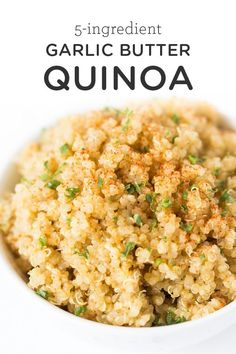 This delicious garlic butter quinoa recipe is one of the easiest recipes you'll . This delicious garlic butter quinoa recipe is one of the easiest recipes you'll ever make! It uses just 5 ingredients, one pan and goes well with everything! Quinoa Recipes Easy, Healthy Recipes, Diet Recipes, Healthy Snacks, Vegetarian Recipes, Cooking Recipes, Quinoa Dinner Recipes, Pasta Recipes, Garlic Recipes
