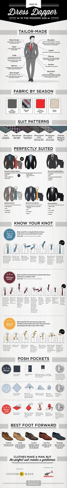 "While women's styles vary greatly between seasons, a man in a suit is usually the epitome of style, unless that suit is too big, too small, or too outdated. www.custommade.com has created an infographic entitled ""How to Dress Dapper in the Modern Age"", giving you a crash course in staying stylish in your suits."