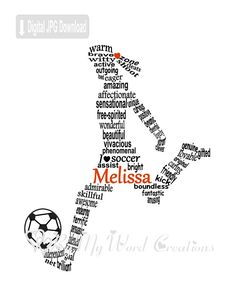 Soccer Player, Football Player Art makes a unique gift for that special girl. This Girl Soccer Player,Football Player word art will be personalized and customized to your specifications. Your finished high resolution 600 dpi JPEG file can be used to print a frameable art work, a greeting card, or your own unique item, such as a mug or cushion. You can print your file as often as you like in a variety of formats. At this resolution a print as large as 16 X 20 is possible.  [HOW IT WORKS]  Add…