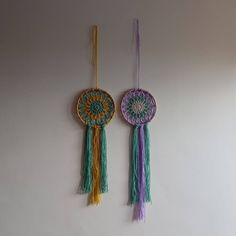 Which colour combo is your favourite? 💛💚💜💚 both dreamcatchers available for + p+p on Etsy - link in bio ✨ . Colour Combo, Dreamcatchers, Wall Hangings, Craft Gifts, Your Favorite, Artists, Wool, Handmade Gifts, Link