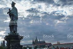 Statue on Charles Bridge in Prague royalty-free stock photo