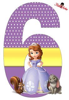 Alfabeto de Princesa Sofia con Fondo de Puntos Blancos.