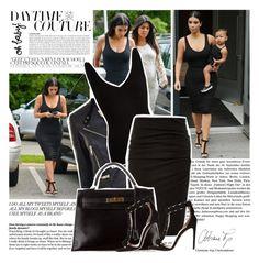 Celebrity Style: Kim Kardashian by misslcb on Polyvore featuring polyvore fashion style Comptoir Des Cotonniers Burberry Hermès Lanvin Alaïa clothing kimkardashian CelebrityLook CelebrityStyle