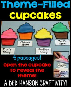 """Are you looking for an unforgettable classroom activity to teach theme to your upper elementary students? Students read 4 passages and identify the theme. Then they write it on the """"creme"""" circle and hide it inside the cupcake! This theme activity can be used to create a great reading bulletin board, too!"""