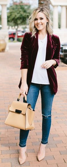 #winter #fashion /  Burgundy Velvet Blazer / White Top / Camel Leather Tote Bag / Ripped Skinny Jeans / Nude Pumps