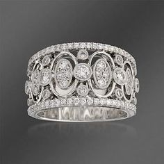 Simon G. 1.05 ct. t.w. Diamond Band Ring in 18kt White Gold. Size 6.5.  Gorgeous but expensive .. of course, gorgeous usually always is expensive. $5,060.