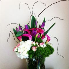 Tulips, Calla Lilies, Hydrangeas, Spray Roses, Dianthus Trick Green and Curly Willow
