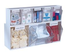 Allows you to mix, match, and stacks sizes.  This bin is helpful in storing supplies for a nurse or doctor
