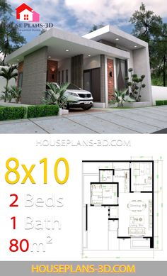 House design with 2 Bedrooms Terrace roof - House Plans Simple House Design, House Front Design, Minimalist House Design, Modern House Design, Sims House Plans, Dream House Plans, Small House Plans, Home Building Design, Home Design Floor Plans