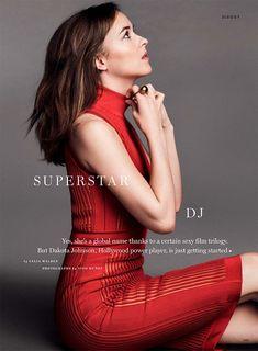 Looking red-hot, Dakota Johnson poses in form-fitting Balmain dress