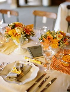 #orange wedding table... Wedding ideas for brides, grooms, parents & planners ... https://itunes.apple.com/us/app/the-gold-wedding-planner/id498112599?ls=1=8 … plus how to organise an entire wedding ♥ The Gold Wedding Planner iPhone App ♥