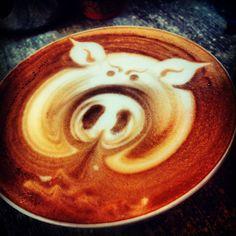 Oink. #latteart #coffee