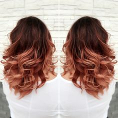 Red ombré rose gold ombré  red to rose gold ombré medium length hair done beauty brands bbinspire by: @lynn.styless                                                                                                                                                                                 More