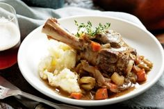 Lamb shank & ale hot pot served on mashed potato