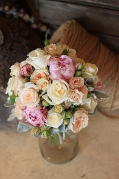 Vintage Rustic Summer Wedding Flowers. English Roses in Pastels.