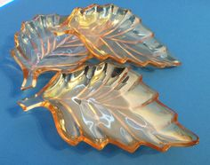 1950's Set of 3 Marigold Carnival Glass Leaf Candy Dishes, Fall Decor, Thanksgiving, Peach Luster, Nature lover by AuntieQsVintage on Etsy