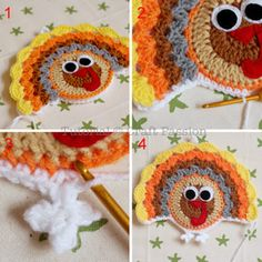 Crochet Turkey Coasters And Ornaments | Free Pattern & Tutorial at CraftPassion.com9 - join front and back