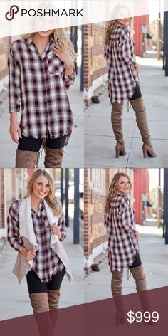 """""""Macy"""" Plaid Buttoned Up Tunic """"Macy"""" Checkered Plaid Buttoned Up Tunic with Fringe Hem Color ~ Burgundy / White Fabric ~ 100% Cotton Bust - Small-20.5""""/Medium-21.5""""/Large 22.5"""" Length - Small-28~32""""/Medium-29~33""""/Large-30~34"""" Beautiful take on your everyday button up with this fringe hem and classy plaid! You'll want to wear this shirt every day!! Infinity Raine Tops Tunics"""