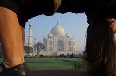 "Yoga Poses Around the World: ""Head over heels at the Taj Mahal."""