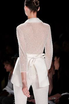#Chado Ralph Rucci Spring 2012  white blouse #2dayslook #white fashion #whitestyle  www.2dayslook.com