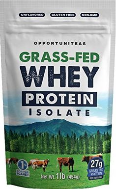 Grass Fed Whey Protein Powder Isolate   Unflavored + Cold Processed + Undenatured   Pure Grassfed Protein Ideal for Shake, Smoothie or Drink   Natural + Non GMO   16 oz / 1 pound