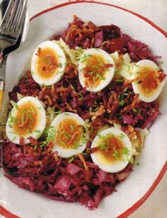 Red and white cabbage salad is a very simple and inexpensive German recipe if you like to eat raw vegetable. It is a ahealthy salad that is called Rohkost. Easy German Recipes, Austrian Recipes, Dutch Recipes, Cooking Recipes, Austrian Food, French Recipes, Egg Recipes, Salad Recipes, Recipies