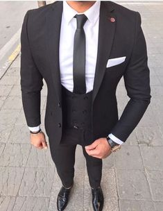 S suits, suits for men 3 piece suits, formal suits, mens fashio Best Suits For Men, Cool Suits, Suit Styles For Men, Best Wedding Suits For Men, Black Suit Men, Black Three Piece Suit, Black And White Suit, White Suits, Black Ties