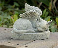 Large Sleeping Angel Cat Statue and Sculpture Crazy Cat Lady, Crazy Cats, I Love Cats, Cute Cats, Pet Memorial Stones, Cat Memorial, Pet Remembrance, Image Chat, Cat Statue