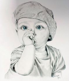 Portrait de bébé Dark Art Drawings, Pencil Art Drawings, Realistic Drawings, Girl Drawing Sketches, Art Drawings Sketches Simple, Cartoon Kunst, Cartoon Art, Pencil Portrait Drawing, Portrait Art