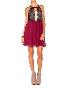Lace Cut Out Chiffon Dress - 2020AVE